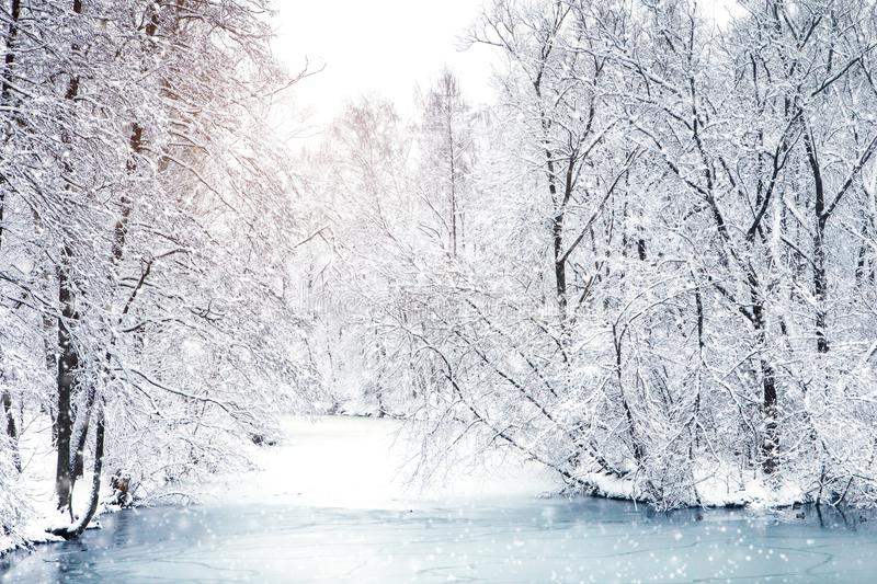 Beautiful winter landscape with snow covered trees. Happy New Year. Merry Christmas.  stock image