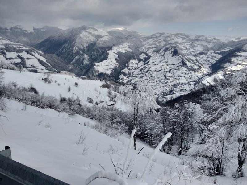 Beautiful winter landscapes with mountains and snow-laden trees in the village of Parva, Romania, Transylvania. Foto tomada en Enero 2019, en pueblo de parva royalty free stock photography