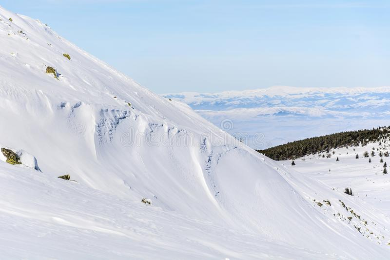 Beautiful Winter mountain landscape from Vitosha mountain , Bulgaria. Beautiful Winter mountain landscape in Bulgaria stock photography