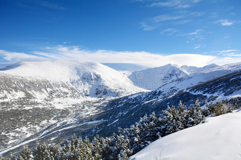 Beautiful Winter mountain landscape from Rila mountain , Bulgaria. Beautiful Winter mountain landscape - Blue Mountain. Musala peak, Rila Mountain , Bulgaria stock photos