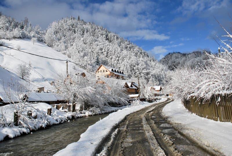 Beautiful winter mountain landscape.The Romanian Carpathians. Winter.Beautiful mountain scene.Bran, The Romanian Carpathians stock images