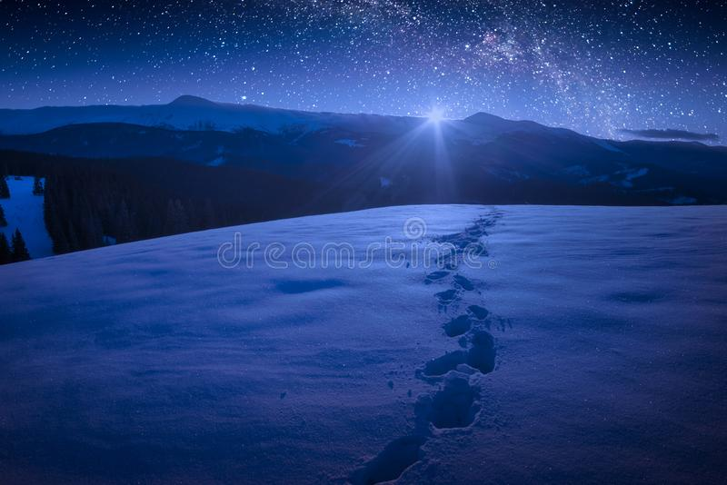 Beautiful winter night in a carpathian mountain valley with many. Stars in a sky. The footprints on a fresh snow. Majestic landscape. Ukraine, Europe royalty free stock photos