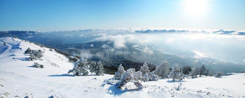 Beautiful winter panorama. stock photos