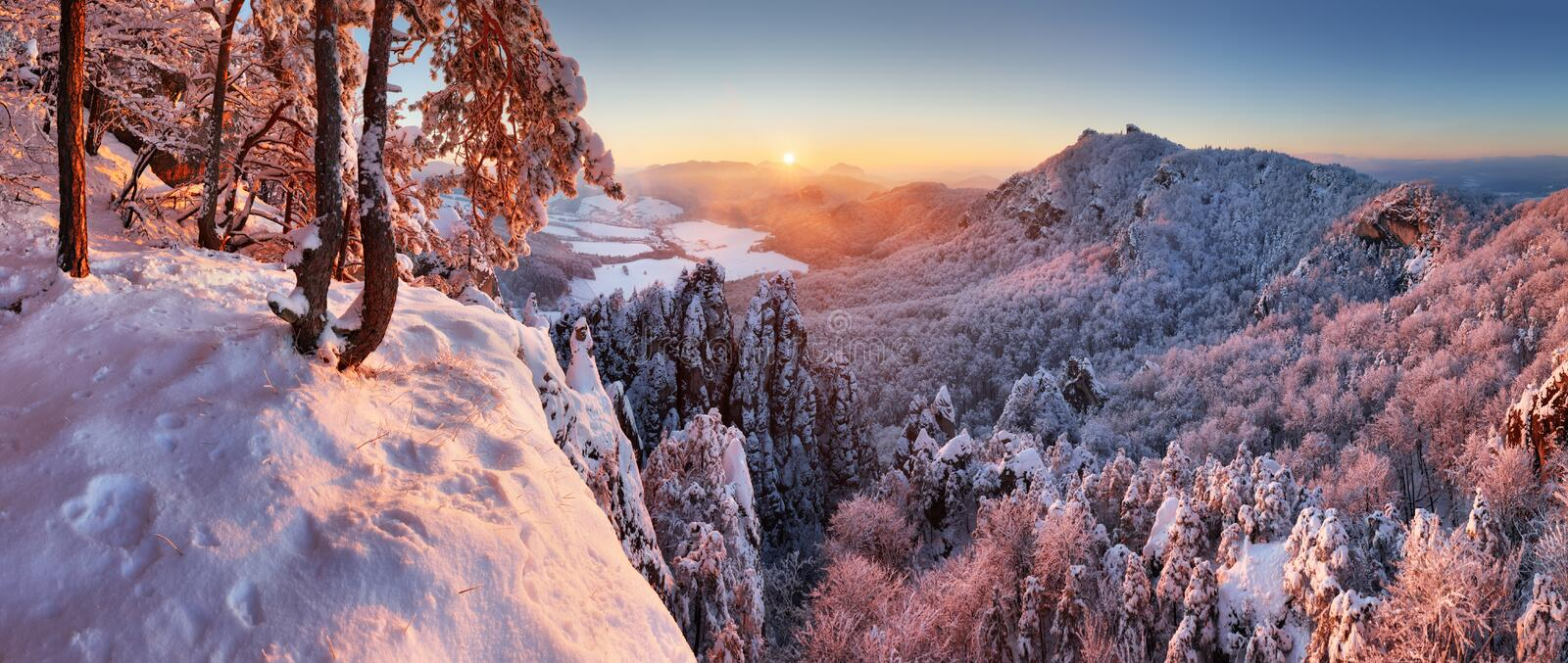 Beautiful winter panorama landscape with snow covered trees, Slovakia mountain stock image