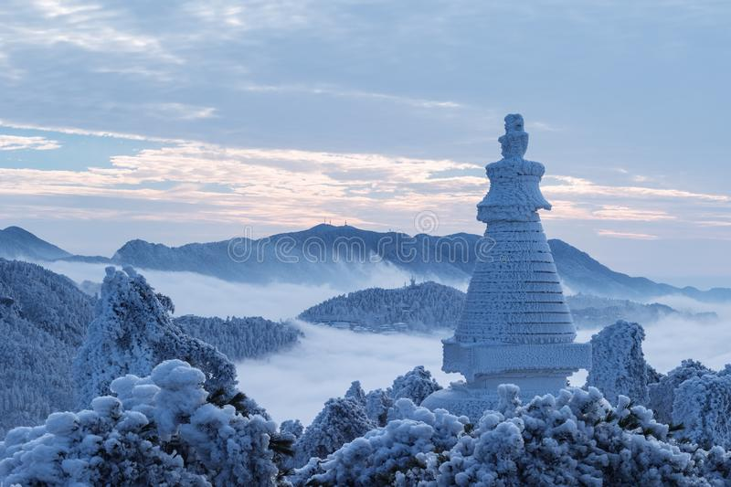 Beautiful winter scenery of lushan mountain stock image