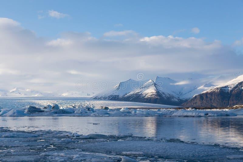 Beautiful winter season natural landscape in Iceland. Jokulsarlon lagoon royalty free stock images