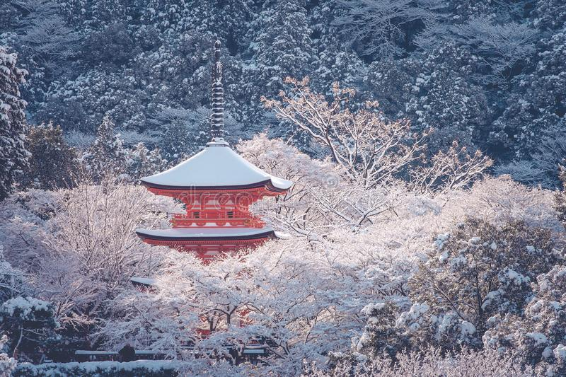 Beautiful winter seasonal of Red Pagoda at Kiyomizu-dera temple surrounded with trees covered white snow background at Kyoto. Beautiful winter seasonal of Red royalty free stock photo