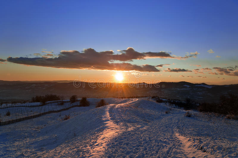 Download Beautiful Winter Sunset Landscape Stock Image - Image of landscape, fence: 28218759