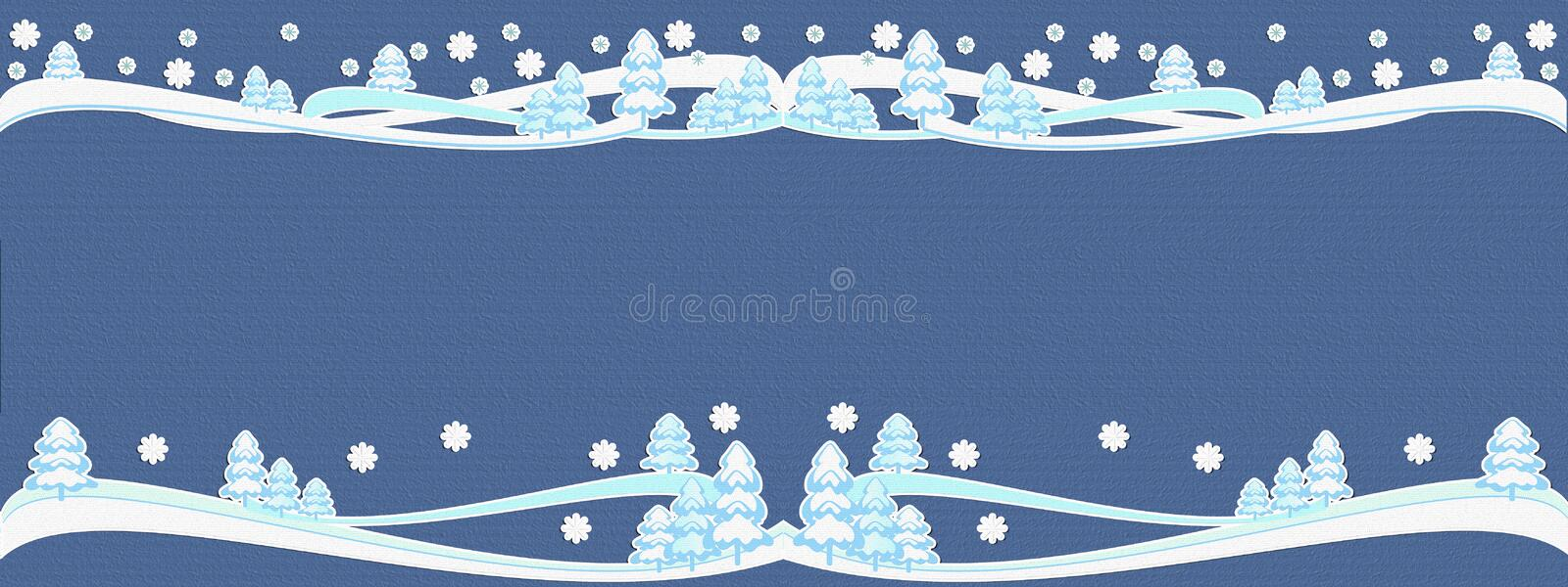 winter illustration navy blue, textured backdrop, snowy trees fairy. Elegant design for title & headline. 2019. stock illustration