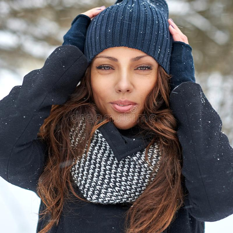 Beautiful winter woman portrait - close up stock photo