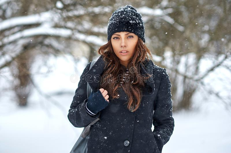 Beautiful winter woman portrait - close up royalty free stock photo
