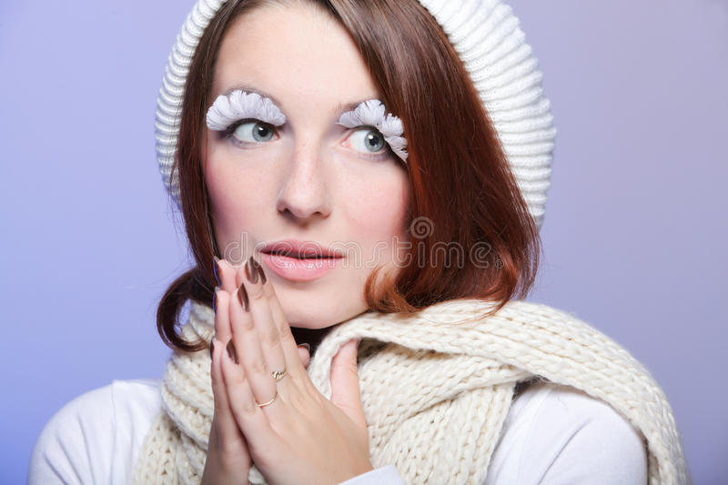 Download Beautiful Winter Woman With White Eye-lashes Stock Photo - Image of girl, babe: 27361040