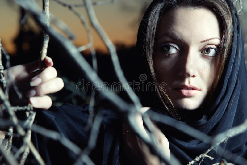 Beautiful witch royalty free stock photography