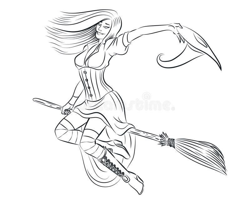 Beautiful witch adult coloring page stock photography