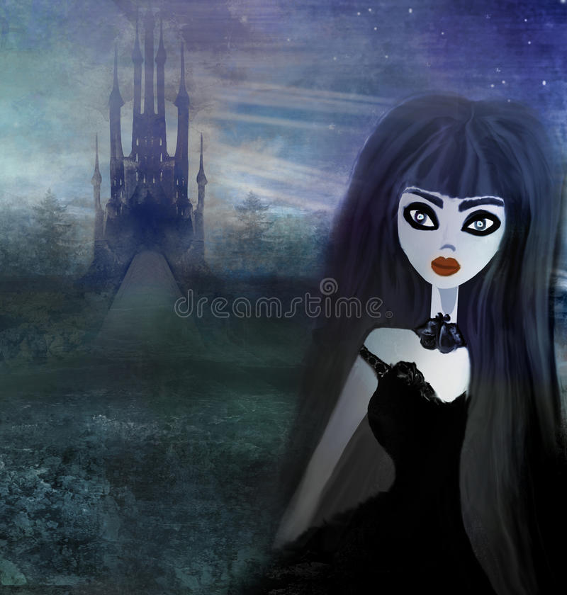 Beautiful witch and hounted house. Raster illustration stock illustration