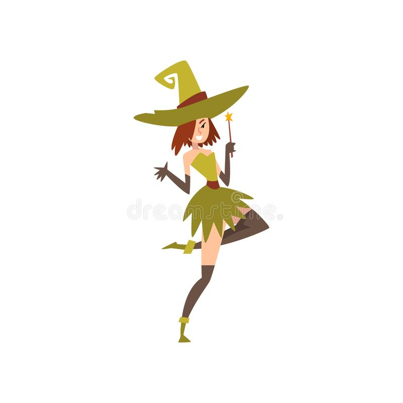 Beautiful Witch with Magic Wand, Charming Witch Character Vector Illustration vector illustration