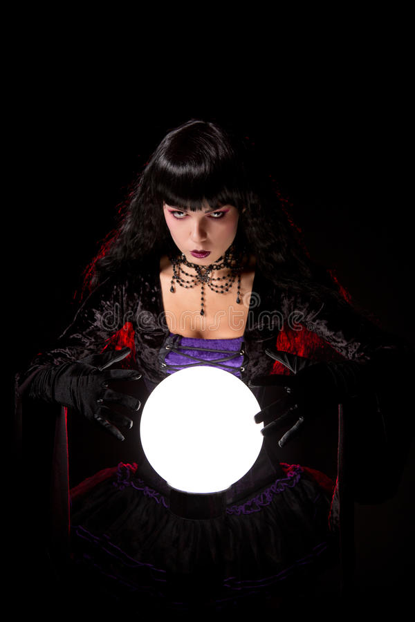 Free Beautiful Witch Or Fortune Teller With A Crystal Ball Royalty Free Stock Photos - 44218178