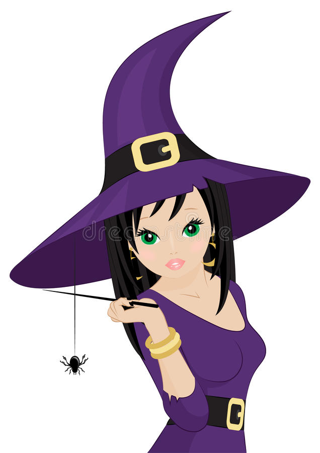 Download Beautiful witch stock vector. Image of woman, broom, costume - 33027690