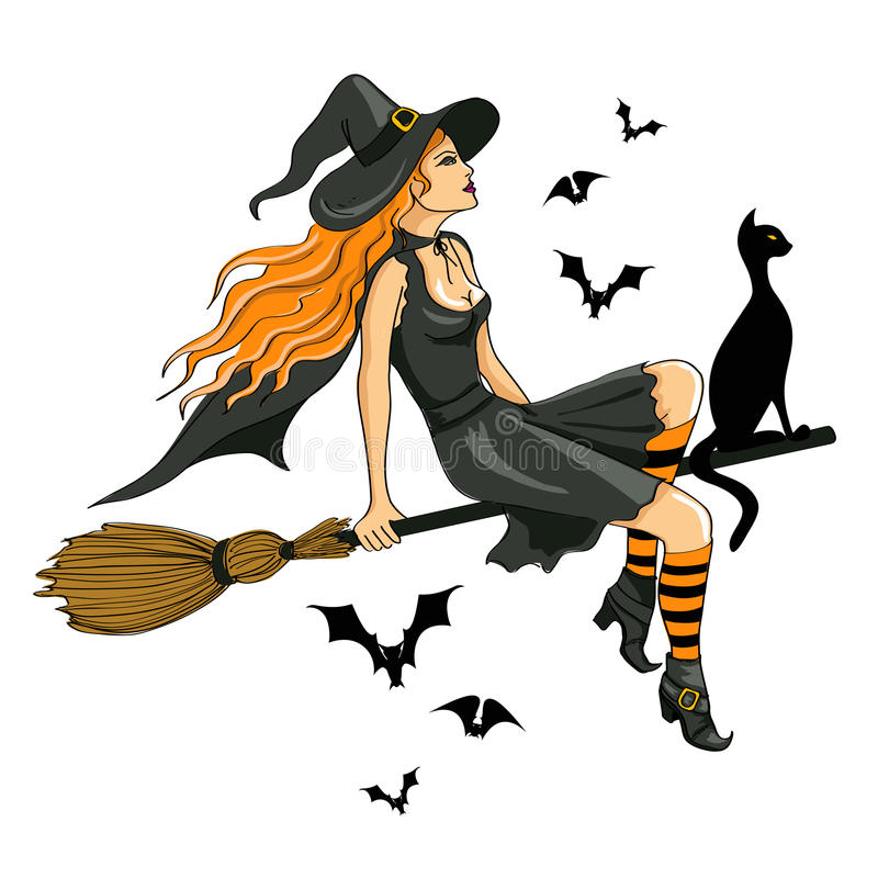Beautiful witch sitting on the broom vector illustration