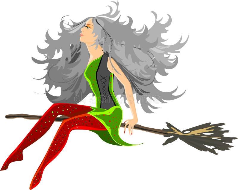 Beautiful witch sitting on broom stock illustration