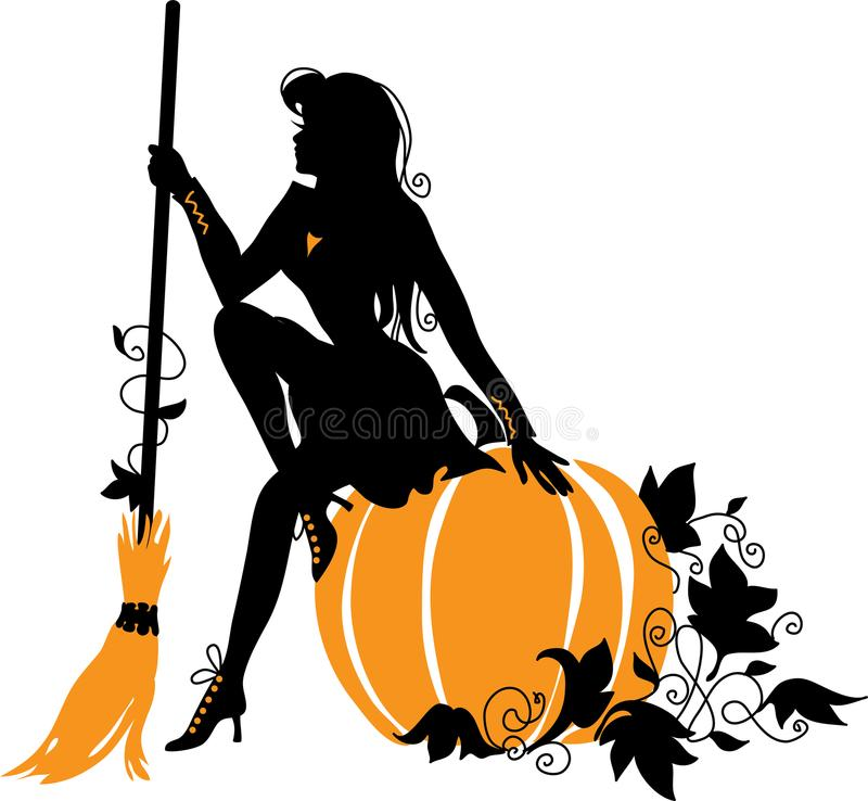 Free Beautiful Witch With Broom And Pumpkin. Stock Photography - 100869022