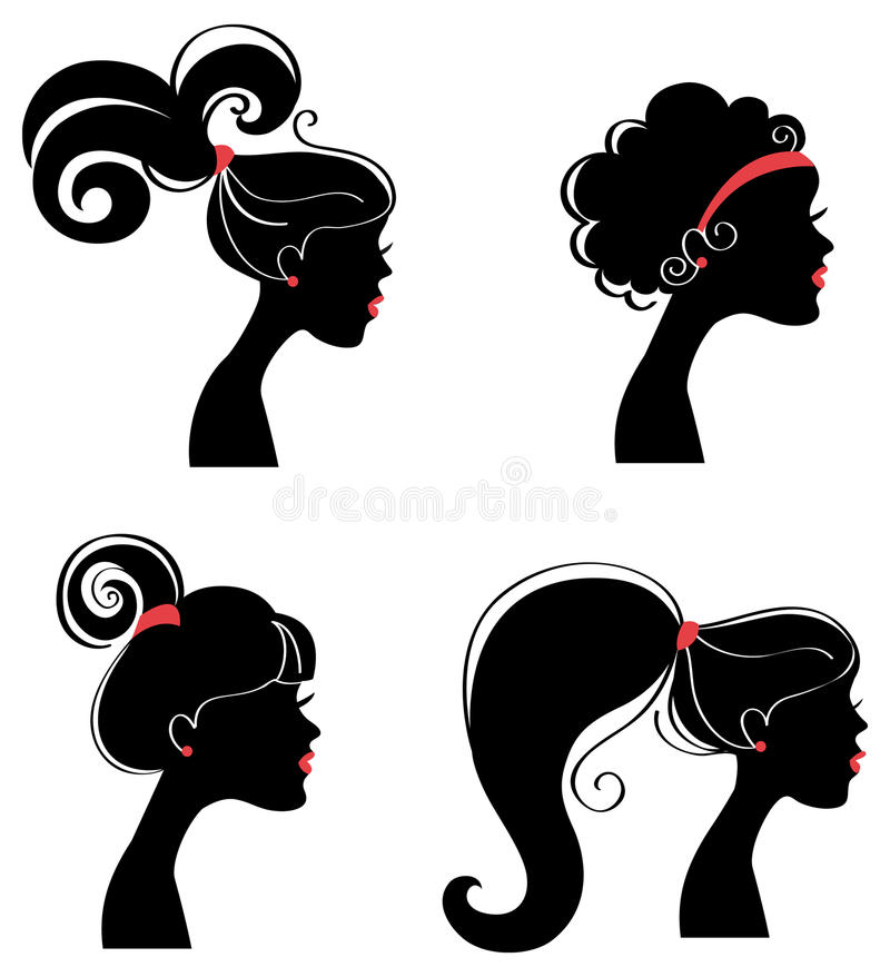 Beautiful woman's silhouette stock illustration