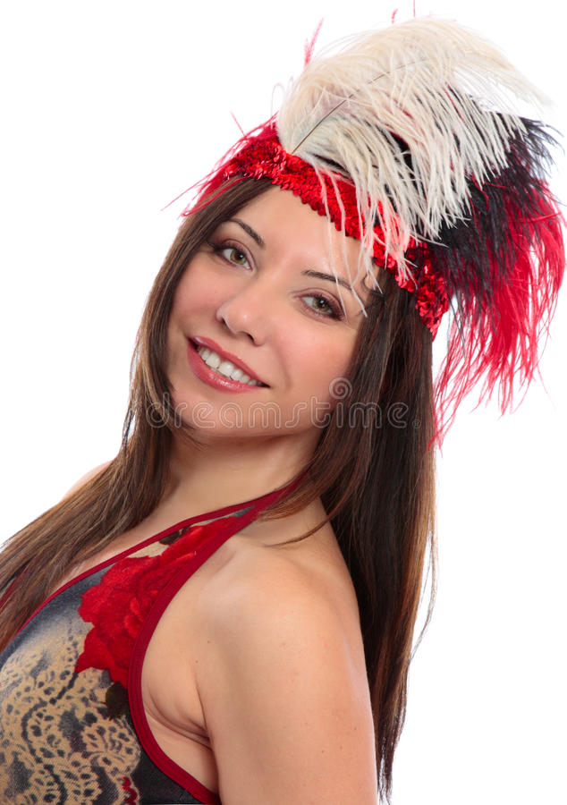 Beautiful woman. A beautiful woman wearing decorative headdress royalty free stock photography