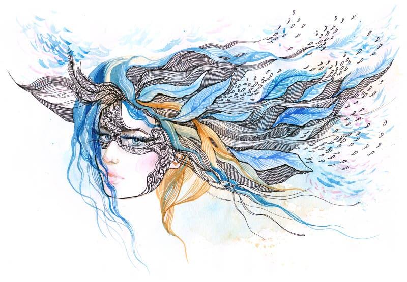 Beautiful woman vector illustration