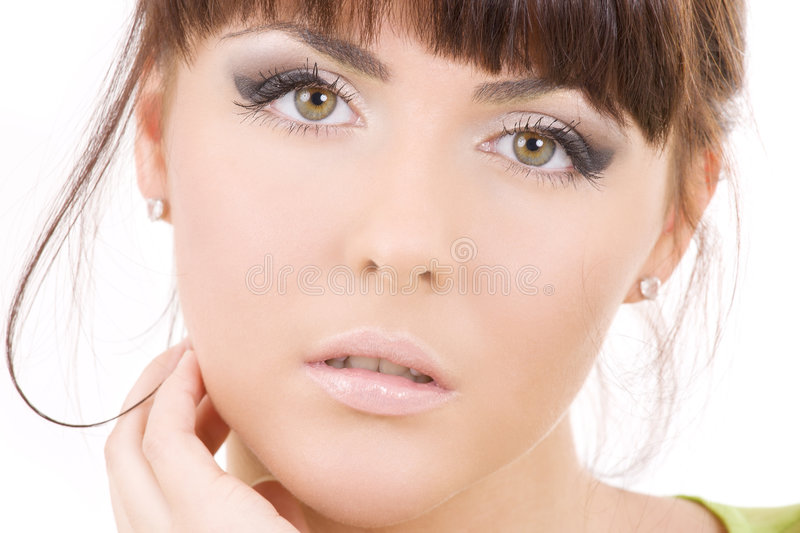 Beautiful woman. Picture of healthy beautiful woman over white royalty free stock images