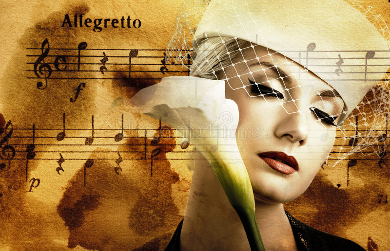 Beautiful woman. Over abstract melody background royalty free stock image