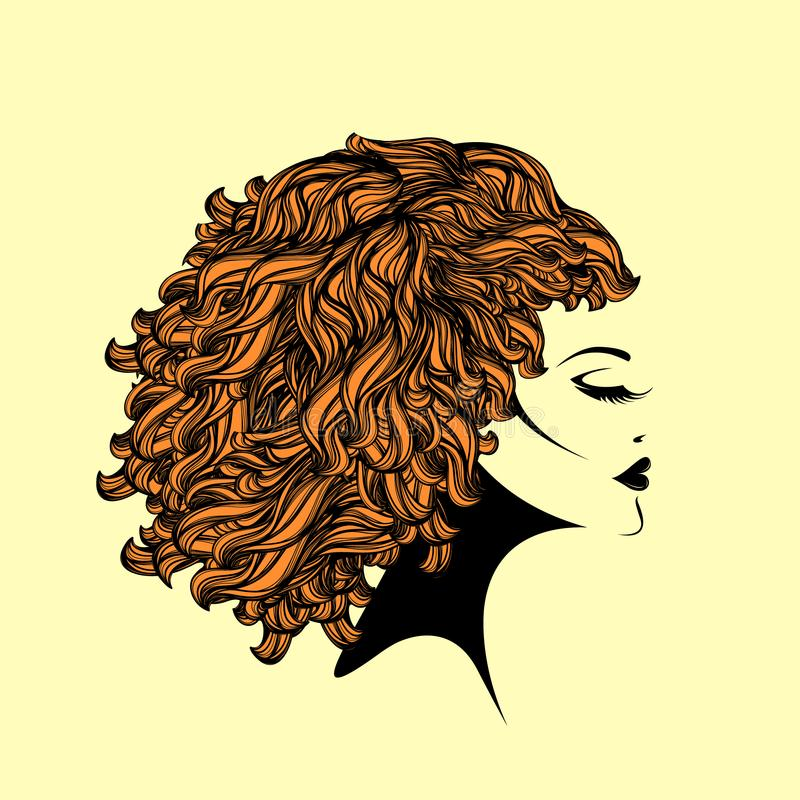 Beautiful woman with Afro curly hairstyle and elegant makeup. Vector illustration of a young woman with big volume hair, bold lipstick and long eyelashes
