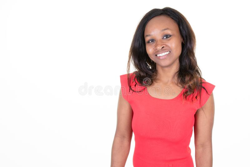 Beautiful woman american african with long hair in white background with side copy space royalty free stock images