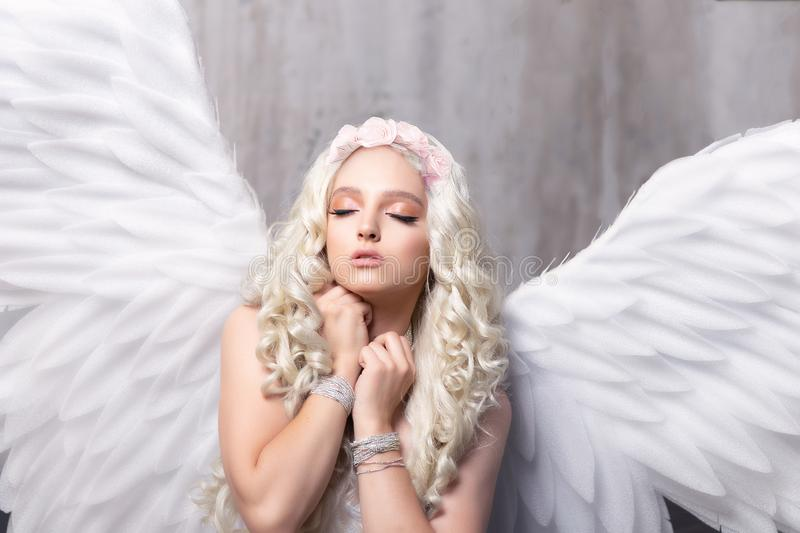 Beautiful woman with angel wings. stock image