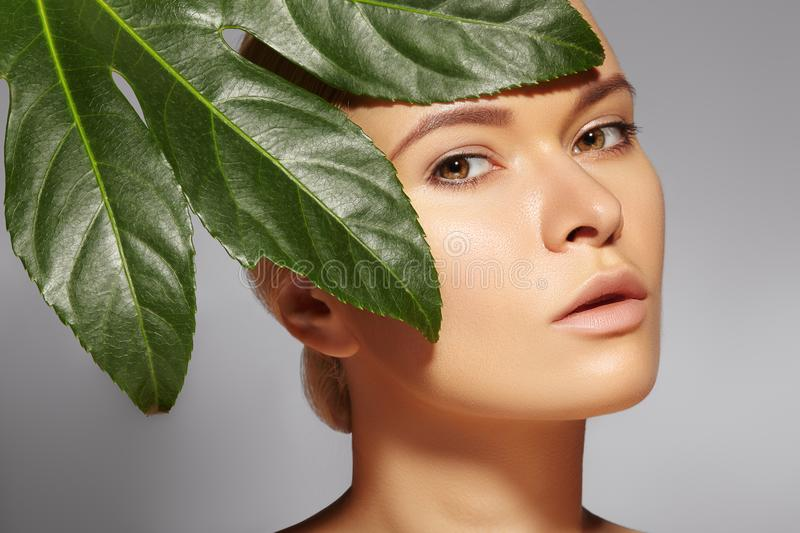 Beautiful woman applies Organic Cosmetic. Spa and Wellness. Model with Clean Skin. Healthcare. Picture with leaf. Beautiful woman applies Organic Cosmetic and royalty free stock images