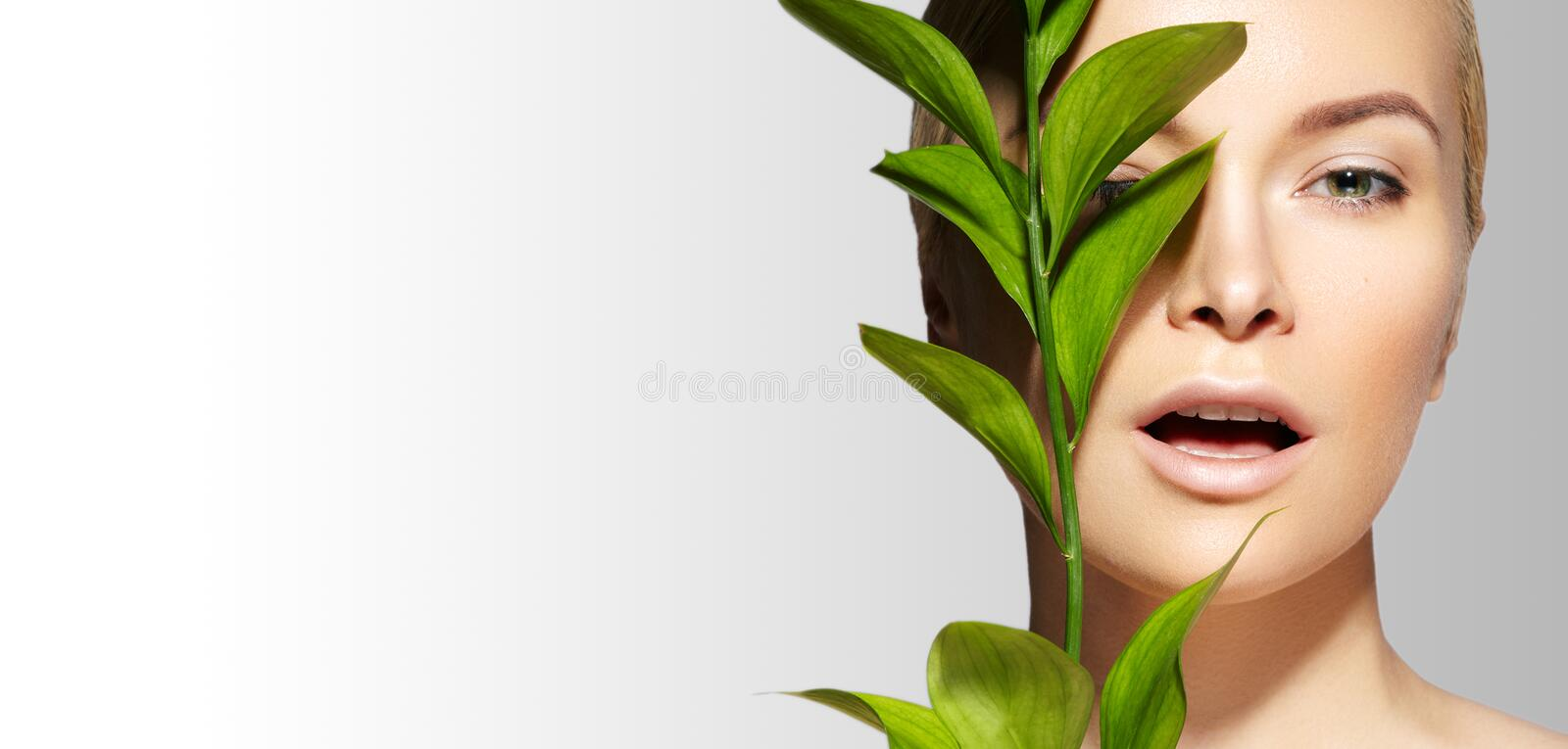 Beautiful Woman applies Organic Cosmetic. Spa and Wellness. Model with Clean Skin. Healthcare. Picture with Leaf stock photos