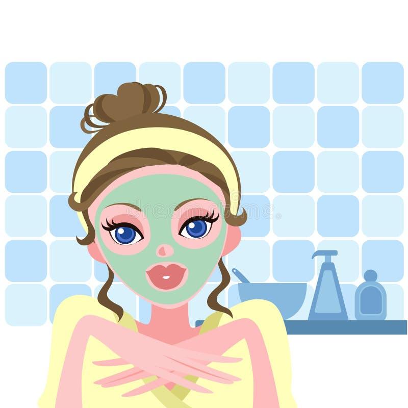 Beautiful woman applying a facial mask stock illustration