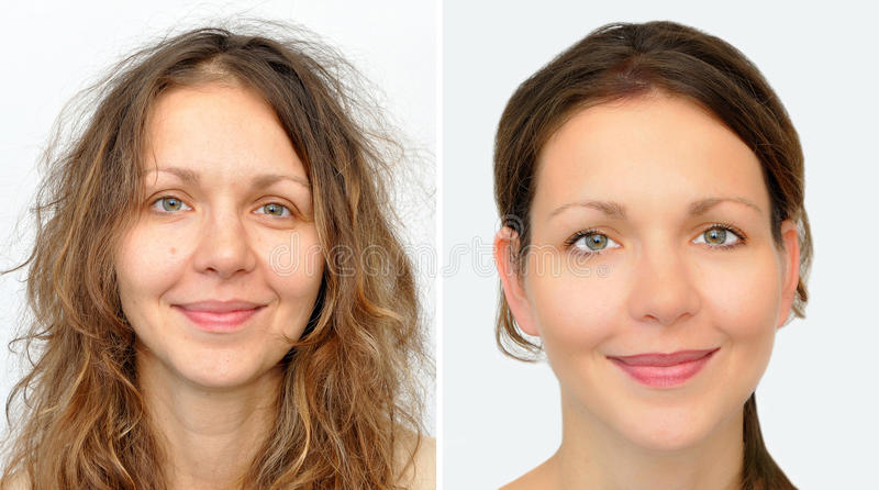 Beautiful woman before and after applying make-up and hairstyling stock photography
