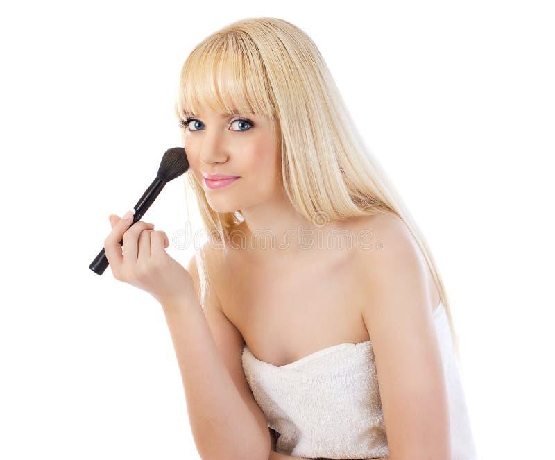 Download Beautiful Woman Applying Makeup With Brush Stock Image - Image: 26076691
