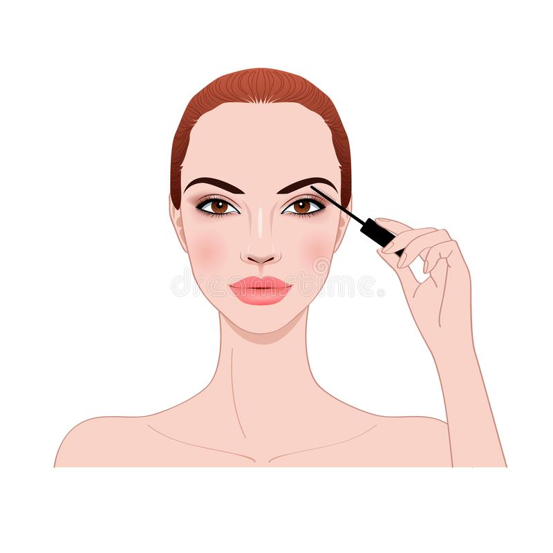 Beautiful woman applying mascara makeup on eyes by brush stock images
