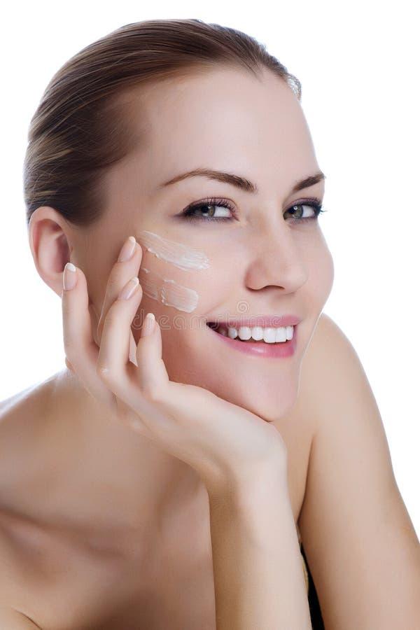 Download Beautiful Woman Applying Moisturizer Cream Stock Image - Image: 26362207