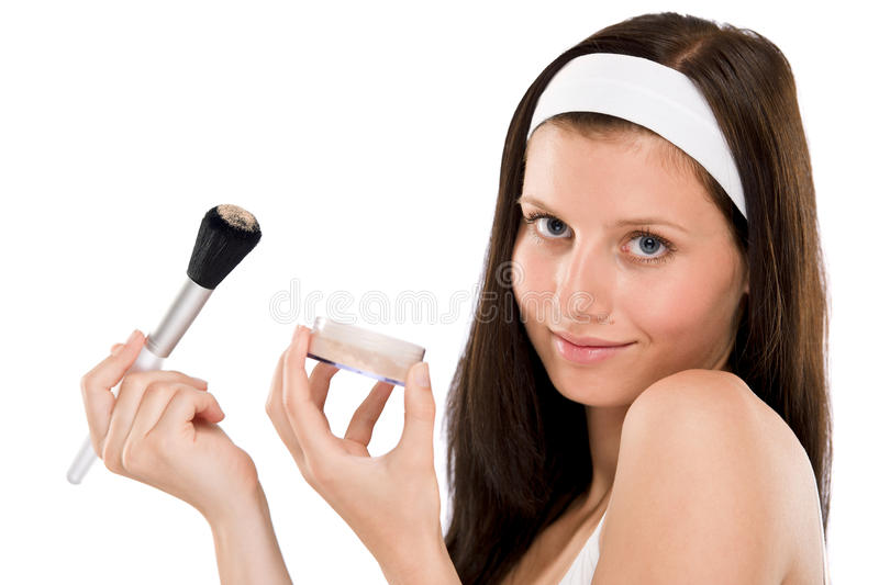 Download Beautiful Woman Applying Powder With Brush Stock Photo - Image: 14834310
