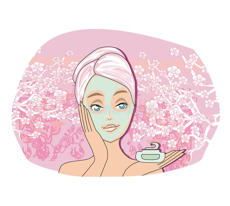 Beautiful woman is applying purifying mask on her face. Vector Illustration stock illustration