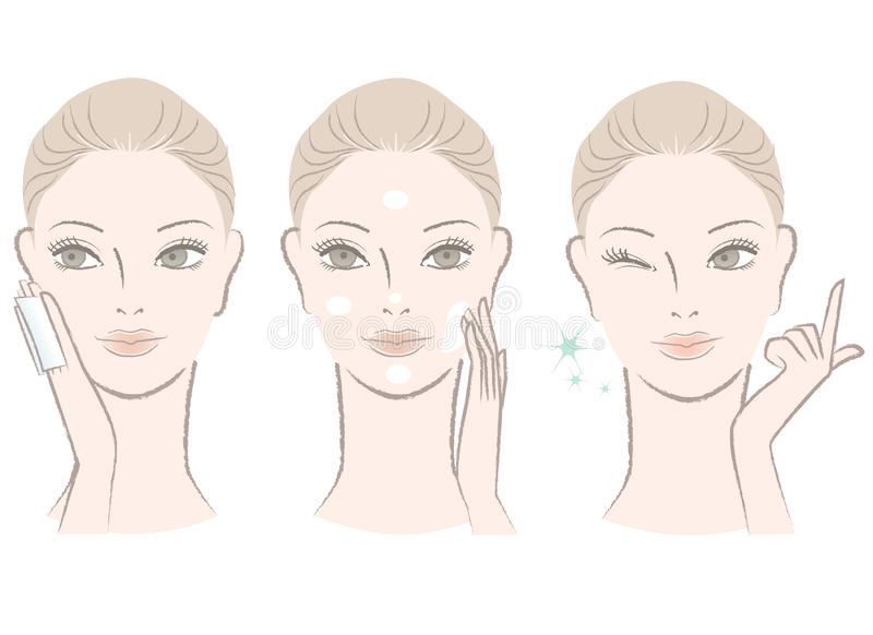 Beautiful woman applying skincare lotion stock illustration