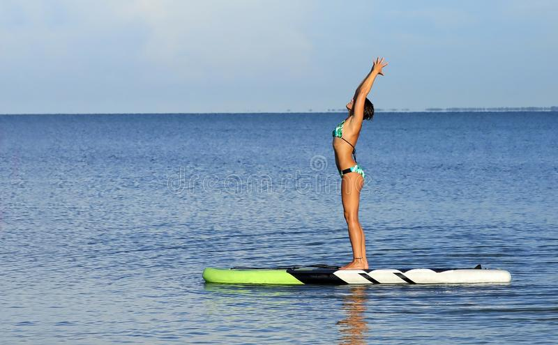 Beautiful woman with arms raised balancing on a paddle board. royalty free stock image