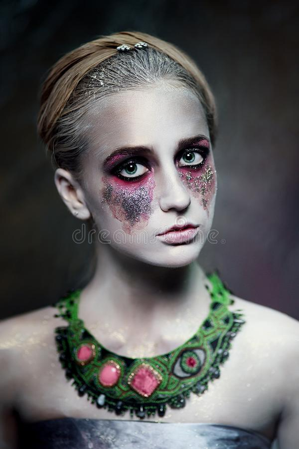 Silver make up stock photography