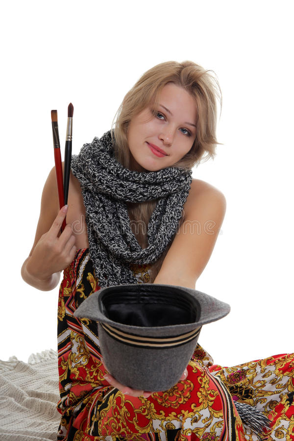 Download Beautiful Woman Artist Asking For Charity Stock Photography - Image: 27294902
