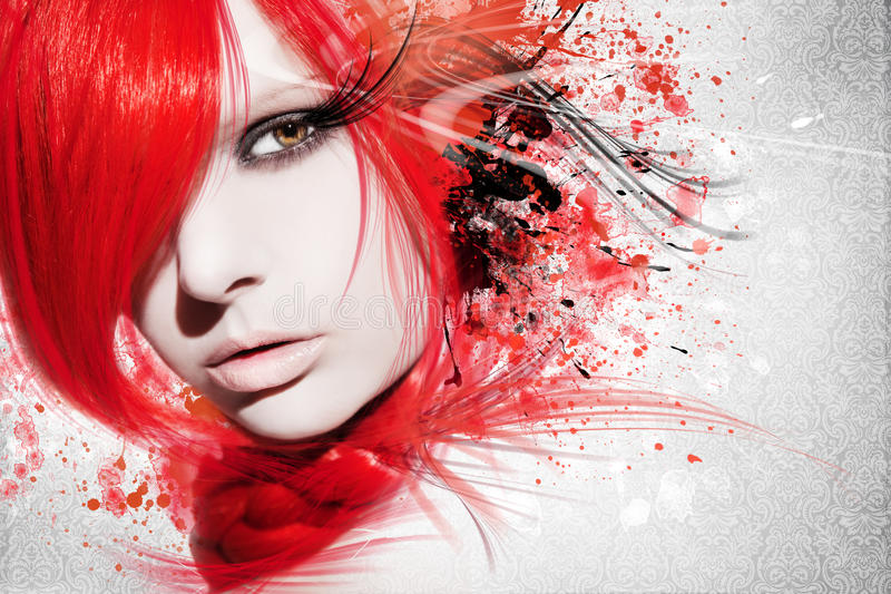 Beautiful woman, Artwork with ink in grunge style. Background royalty free stock photos
