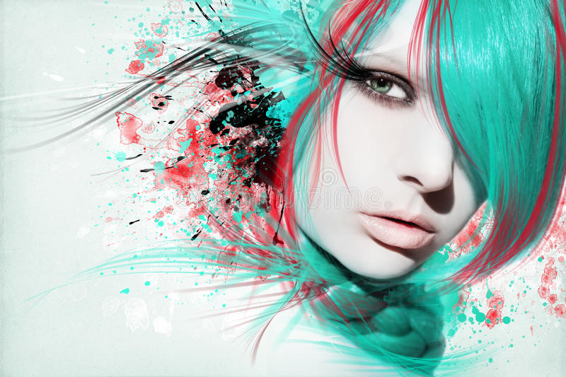 Beautiful woman, Artwork with ink in grunge style. Background stock photography