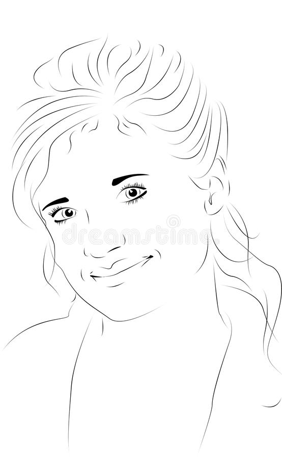 Beautiful woman as line drawing royalty free illustration