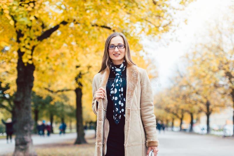 Beautiful woman in autumn stock photo